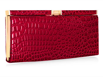 croc-patterned clutch