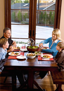 Brigid Shaheen and family eating dinner