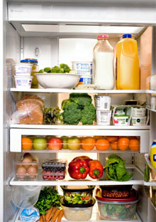 Refrigerator filled with food