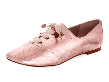 Mia crackled rose-gold oxfords