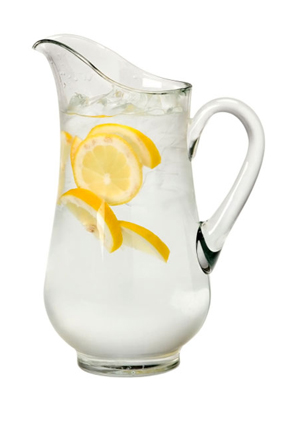 Carafe of water with lemon slices