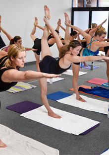 Paige Williams in bikram yoga class
