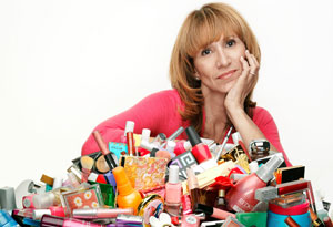 Hillary Kosofsky with pile of makeup