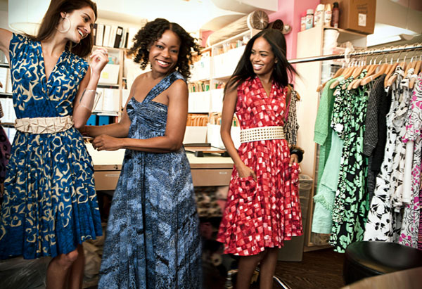 Tracy Reese with women wearing printed jersey dresses
