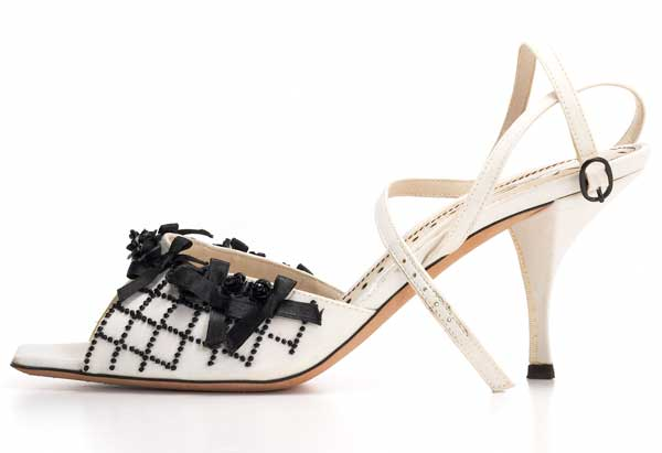 YSL Black and White Strappy Heel