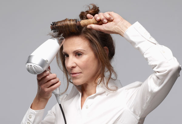 Drying front section of hair