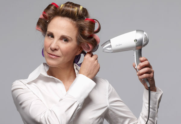 Hair put up in rollers