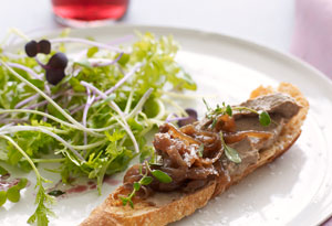 Caramelized Onion and Sherry Marmalade on Chicken Liver Crostini