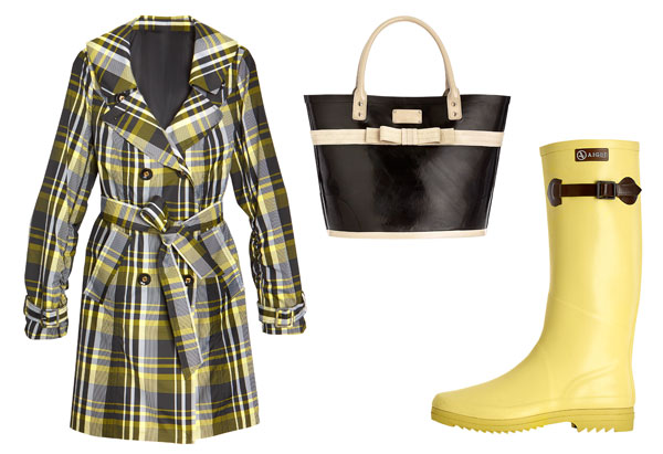 plaid trench, rubber tote, yellow boots