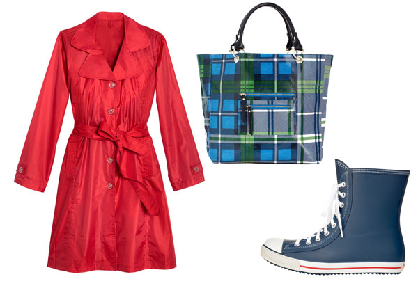 red trench, plaid canvas tote, sneaker galoshes