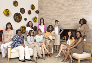 Oprah with the 10 readers who interviewed her