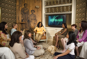 Oprah chatting with readers in her office