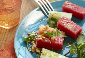 Burmese Melon Salad with Sesame-Ginger Vinaigrette