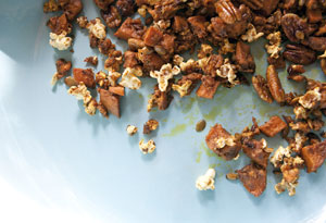 Moroccan Spiced Sweet Potatoes with Popcorn, Pecans, and Pepitas