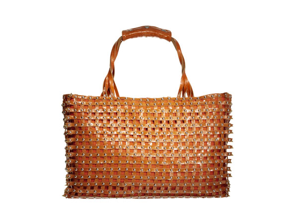 orange studded bag