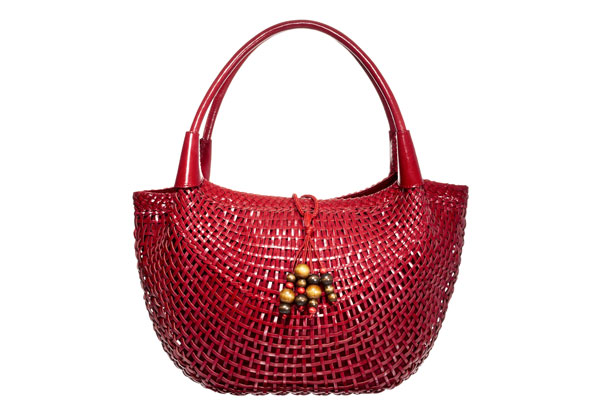 structured red leather bag