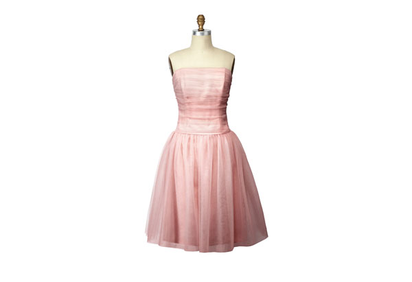 strapless pink cocktail dress