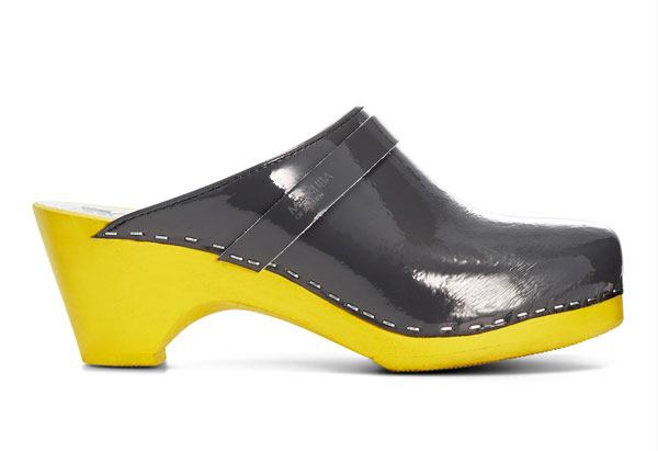 olive and yellow clog