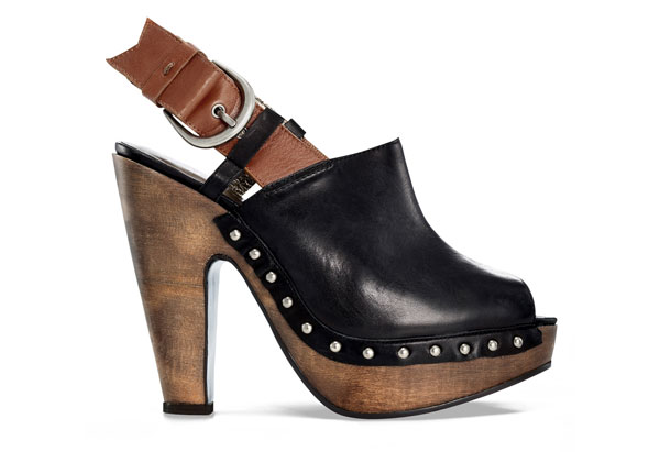 studded leather peep-toe clog
