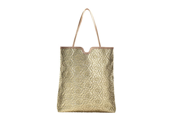 metallic quilted tote