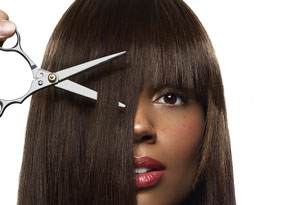 woman getting bangs cut