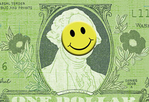 Dollar bill with a happy face