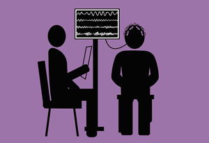 patient getting brainwaves analyzed