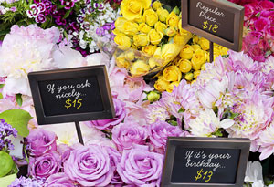 flowers labeled with different prices