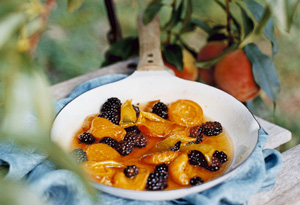 Skillet-Roasted Apricots and Blackberries