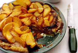 Breakfast Bread Pudding with Peaches and Vanilla-Buttermilk Syrup