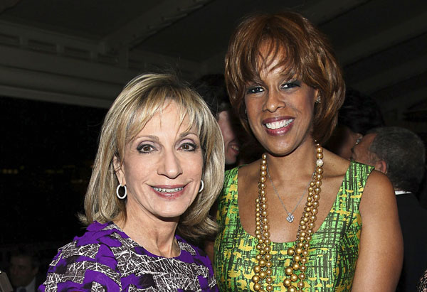 Gayle King and Andrea Mitchell at the white house