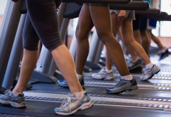 Feet on treadmills