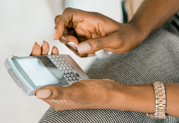 Woman on Blackberry