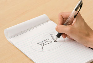 notepad with yes