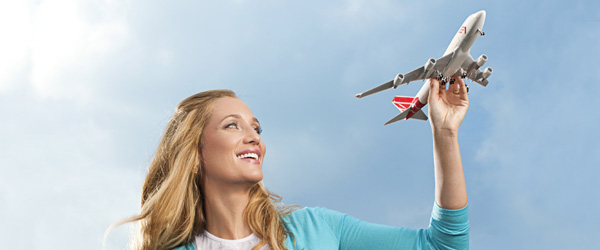 Woman with toy plane