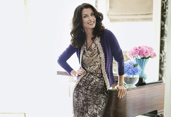 Bridget Moynahan - purple cardigan