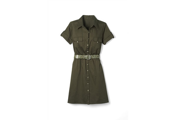 shirtdress and studded belt