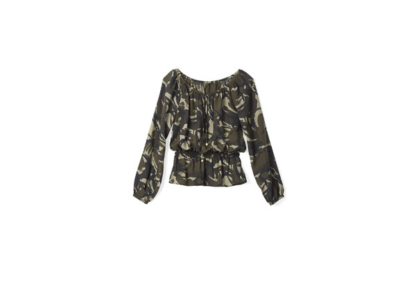 camouflage peasant blouse