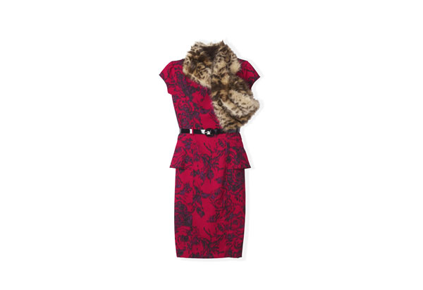 red peplum dress and faux fur scarf