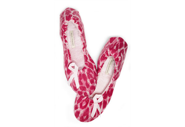 White + Warren pink cashmere slippers