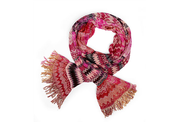 Anu by Natural handmade red and pink scarf