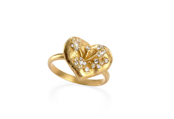 Hazel and Harlow gold topaz heart ring
