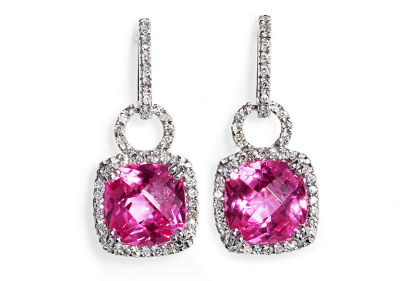 Brian Danielle diamond rose quartz earrings
