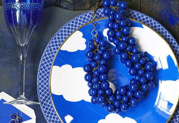 yves klein blue plate, necklace, flats, stationery, wineglass and earrings