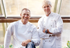 Chefs Mark Gaier and Clark Frasier in their garden