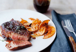 Roasted butternut squash with steak