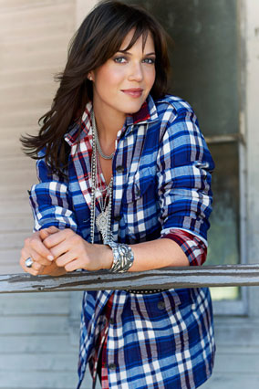 mandy moore in blue plaid shirt