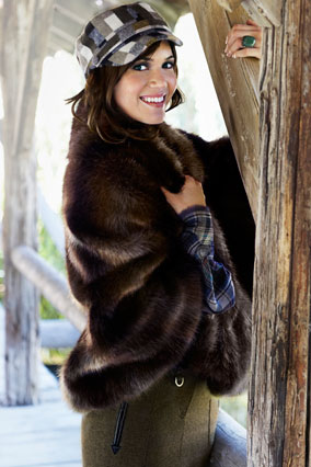 mandy moore in faux fur wrap