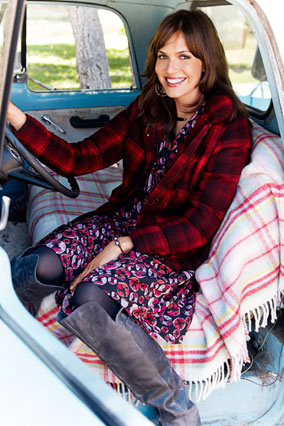 mandy moore in red tartan jacket