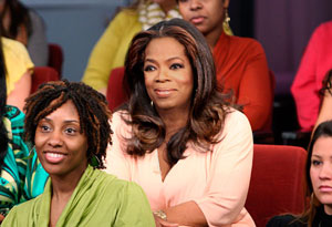 Oprah on the set of her talkshow in the audience